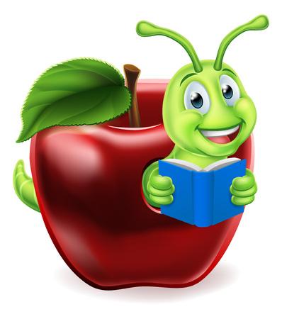 Book Worm Apple Cartoon Illustration