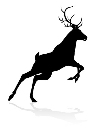 High quality animal silhouette of a deer Illustration