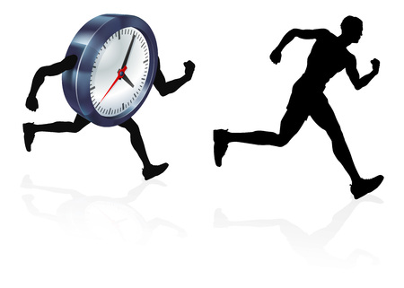 A man running from a clock or racing it concept for time pressure or work life balance, being stressed or racing a deadline