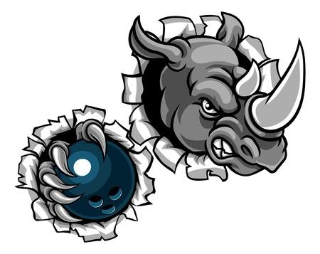 Rhino Holding Bowling Ball Breaking Background Standard-Bild - 106061983