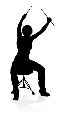 Silhouette de batteur musicien