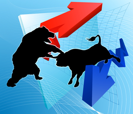 Bears Versus Bulls Stock Market Concept Фото со стока