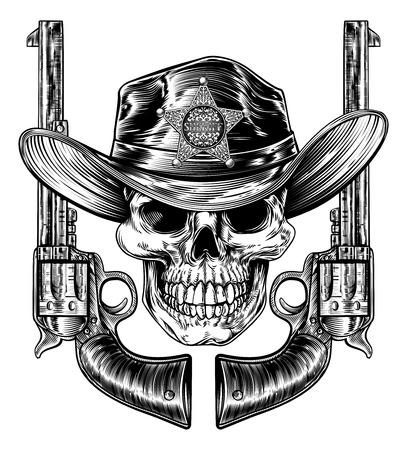 Sheriff Skull And Pistol Hand Guns Stock Vector - 106062064