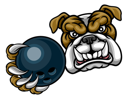 Bulldoggenhunde, die Bowlingkugel-Sportmaskottchen hält