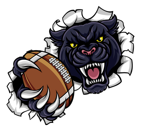 A black panther angry animal sports mascot holding an American football ball and breaking through the background with its claws