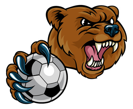 Bear Holding Soccer Ball Illustration