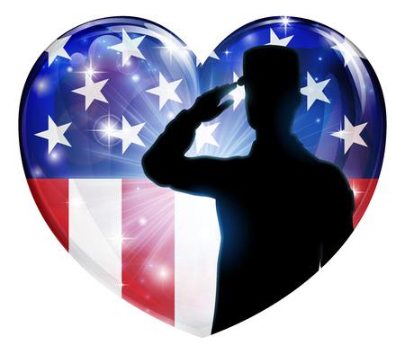 Soldado saludando corazón patriótico de la bandera americana