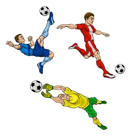 Cartoon Soccer Football Players Vetores