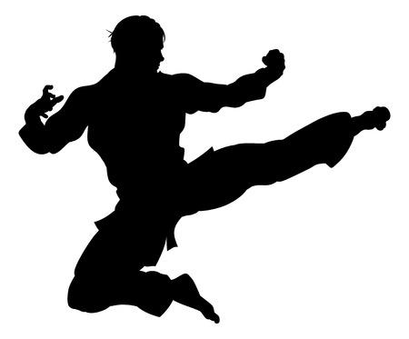 Un artista marcial de karate o kung fu entregando una patada voladora con gi en silueta Ilustración de vector