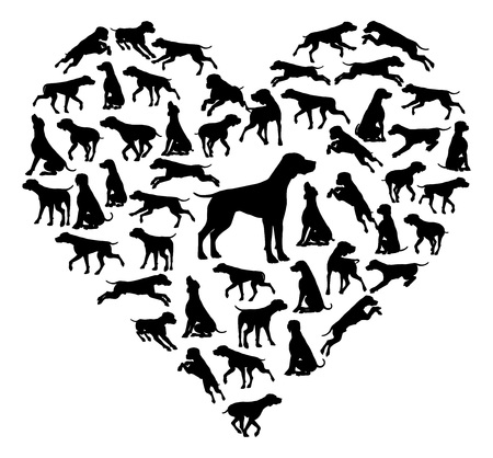 Beagle Dog Heart Silhouette Concept 일러스트