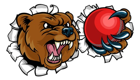 Bear Holding Cricket Ball Breaking Background Standard-Bild - 106170550