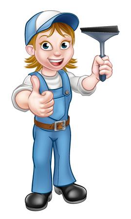 Un personaje de dibujos animados de limpiador de ventanas manitas sosteniendo una escobilla de goma y dando un pulgar hacia arriba