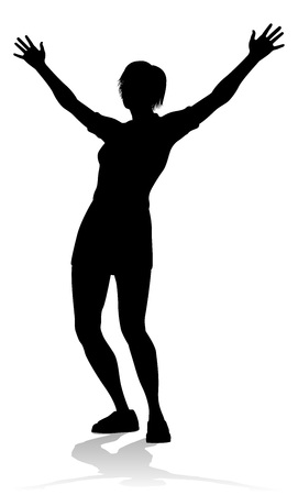 A silhouette woman with arms raised in praise or triumph