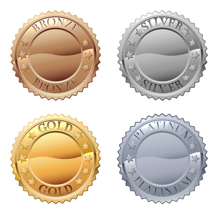 A medals icon set with platinum, gold, silver and bronze badges Фото со стока - 106170654