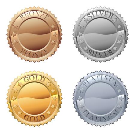 Ikona medali z odznakami platynowymi, złotymi, srebrnymi i brązowymi Ilustracje wektorowe