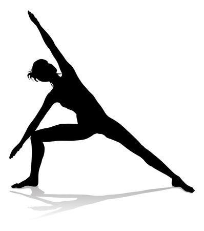 A silhouette of a woman in a yoga or pilates pose Illustration