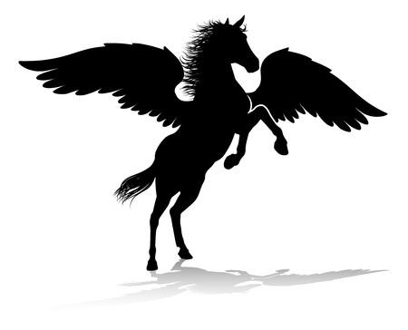 Grafika mitologicznego skrzydlatego konia o sylwetce Pegaza