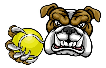 A bulldog angry animal sports mascot holding a tennis ball