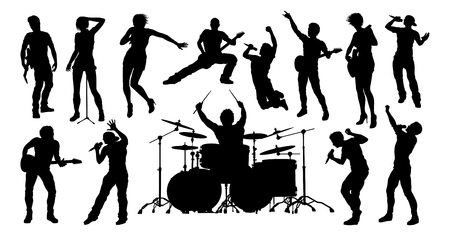 A set of high quality musicians, rock or pop band singers, drummers, and guitarists silhouettes Vector Illustration