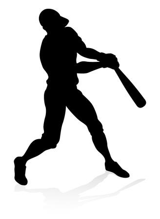 Honkbal speler silhouet Vector Illustratie