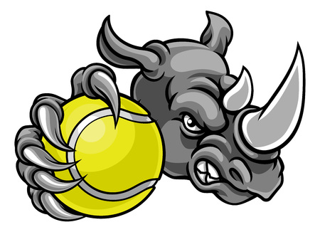 Mascotte de sport de balle de tennis Rhino