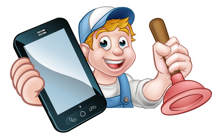 A plumber or handyman holding a plunger and phone with copyspace