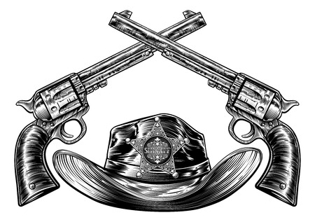 Crossed Pistols and Cowboy Hat with Sheriff Star