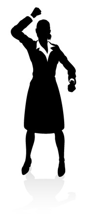 A high quality business person silhouette with reflection