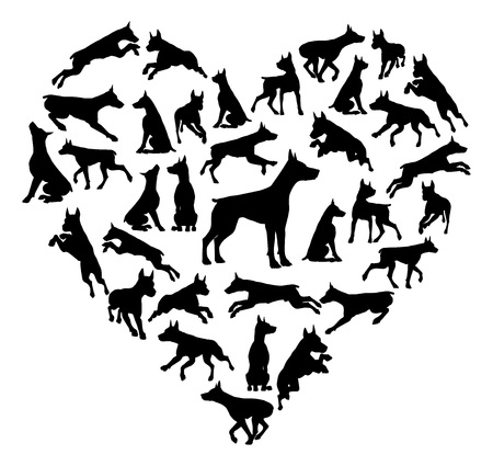 Dobermann Dog Heart Silhouette Concept