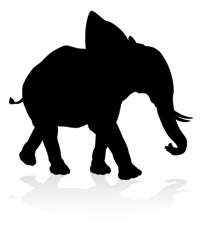 Elephant Safari Animal Silhouette Иллюстрация