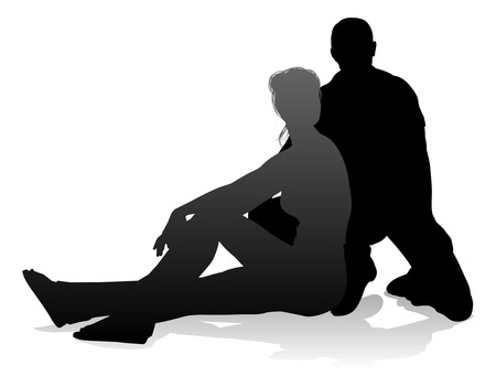 People silhouette of a young man and woman, probably a couple or husband and wife Stock Illustratie