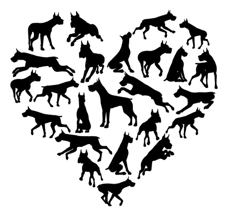 Great Dane Dog Heart Silhouette Concept