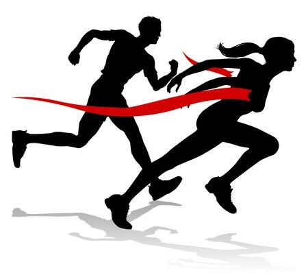 Corredores de silueta en una pista de carreras y un evento de campo cruzando la línea de meta Ilustración de vector