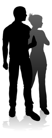 Young Couple People Silhouette Vector Illustration