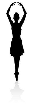 Dancing Ballet Dancer Silhouette Illustration