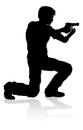 Action Movie Shoot Out Person Silhouette 写真素材 - 106642115
