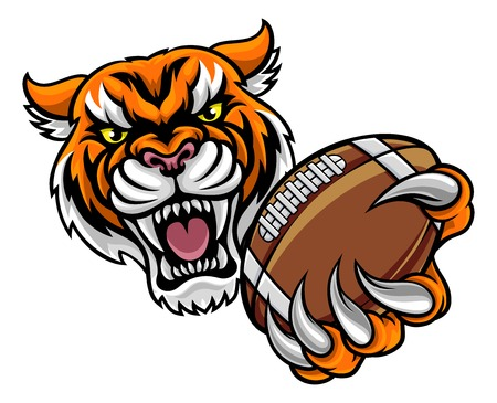 Tiger Holding American Football Ball