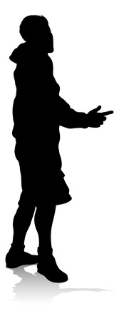 Young Person Silhouette Vector Illustration