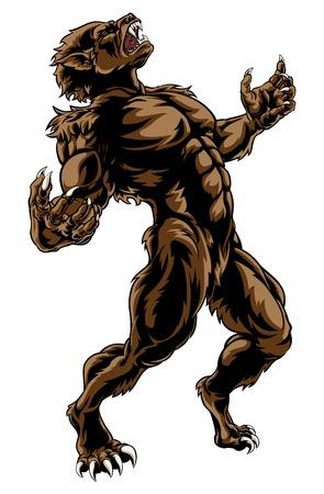 Monstruo hombre lobo aterrador