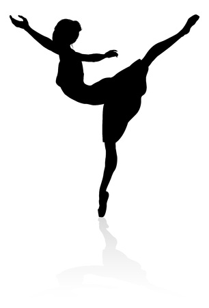 Silhouette of a ballet dancer dancing in a pose or position 向量圖像