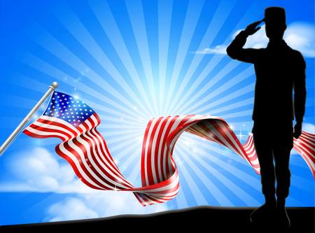 Amerikaanse vlag soldaat groet achtergrond