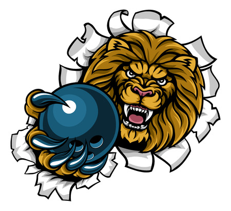 Lion Holding Bowling Ball Breaking Background Ilustração