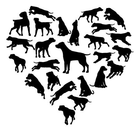 Labrador Retriever Dog Heart Silhouette Concept Illustration