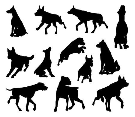 Dog Silhouettes Animal Set Banque d'images - 107175733