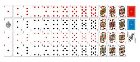 Una baraja de cartas realmente completa y completa. Todas las cartas, incluido el comodín plus y el reverso. Un diseño original en un estilo vintage clásico. Tamaño de póquer estándar. Ilustración de vector