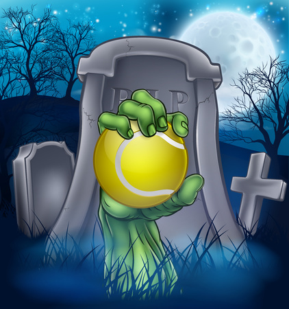 A sports Halloween graveyard illustration with a zombie hand breaking out of a grave holding a tennis ball. Stock Illustratie
