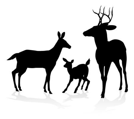 Silhouettes de la famille des animaux cerfs. Faon, biche et chevreuil Vecteurs