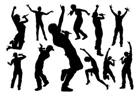 Un conjunto de cantantes pop, música country, estrellas de rock y vocalistas de artistas raperos hiphop en silueta detallada de alta calidad