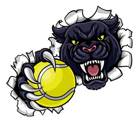 Black Panther Tennis Mascot Breaking Background