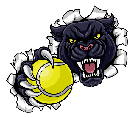 Black Panther Tennis Mascot Breaking Background